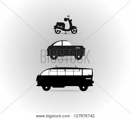 Black and white logos land transport motor