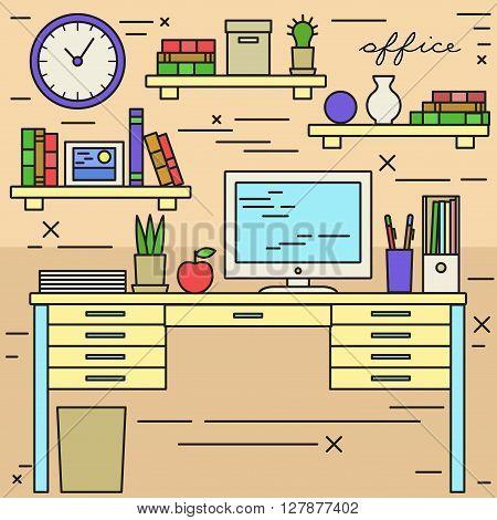 Office workplace cabinet linerat flat modern vector illustration.