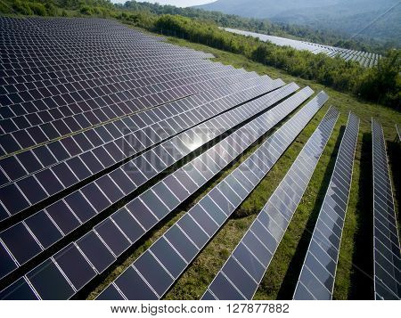 Solar panels producing green environmentally friendly energy from the sun