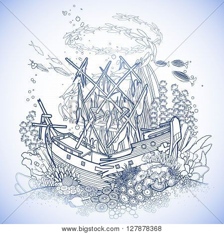 Ancient sunken ship and coral reef drawn in line art style. Ocean fish and plants in blue colors. Coloring book page design.