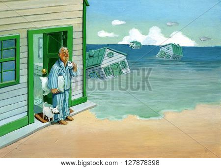 awakening a doorway man sees the houses around him taken away by high tide