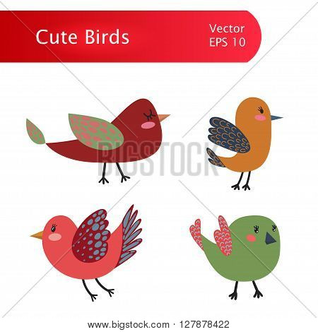 Colorful Vintage Vector Cute Birds Set Illustration with Colorful Vector Birds for T-Shirt Prints, Wrapping Paper, Book Illustration and Web Design, Vintage Vector Illustration, Vector Set