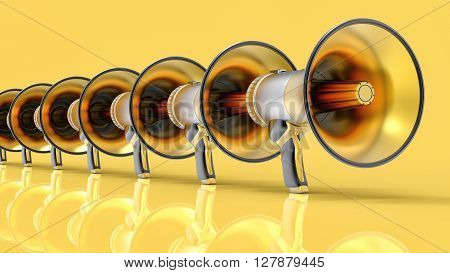 3D Isolated Megaphone Group Illustration