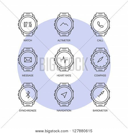 Smart watch functions thin line icons set. Exclusive gadget outline sign vector illustration.  Premium quality digital clock web simple symbol collection.