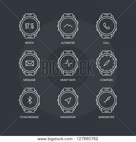 Smart watch functions thin line icons set on dark background. Exclusive gadget outline sign vector illustration.  Premium quality digital clock web simple symbol collection.