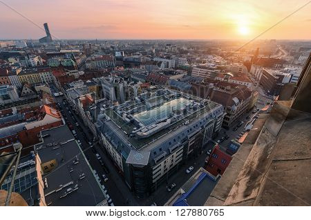 Air view panorama of old Wroclaw city during sunset. Poland Europe.