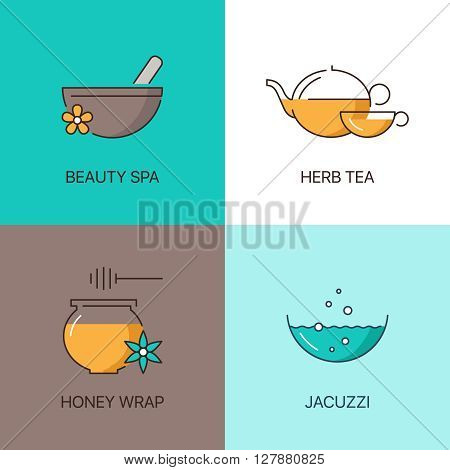 Spa thin line logo concept. Premium quality natural calligraphic elegant linear icons set.  Exclusive outline sign vector illustration.