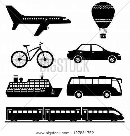 Silhouettes of transport set: plane aerostat bicycle car ship bus and train. Black and white vector illustration