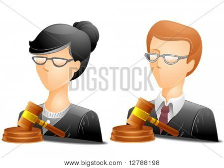 Bespectacled judge Avatars wearing black coat with a gavel placed in front - Vector