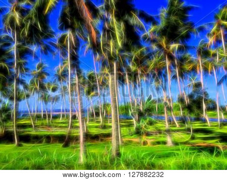 Digital illustration - Palm trees in an unreal neon glow of light, colorful landscape with palm trees, palm tree forest illustration, tropical garden picture, sea and coco palm trees on the beach