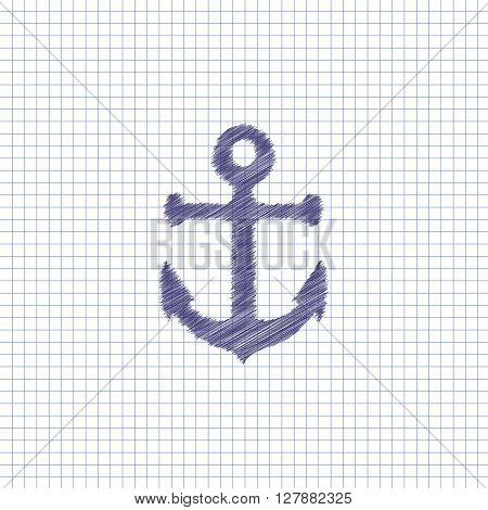 Flat vector icon. Scribble blue pen on a sheet of school notebook. Anchor.