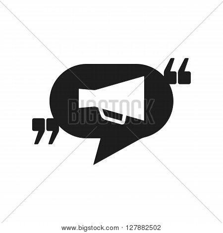 Vector icon with quote speech balloon and megaphone. Black mark and bullhorn symbol. Feedback form template. Business dialog pictogram. Isolated comma design.