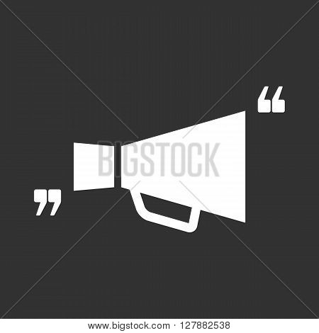 Vector icon with quote and megaphone. Black mark and bullhorn symbol. Feedback form template. Business dialog pictogram. Isolated comma design.