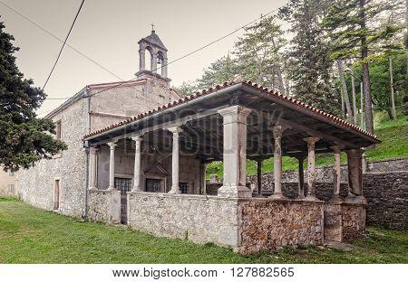 View of a little church in Labin little town in Istria Croatia