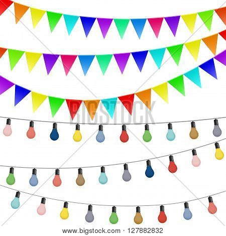 Garlands of flags and colored lamps. Decorations isolated on white background. Stock vector illustration.
