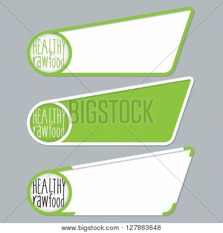Green boxes for your text with healty food