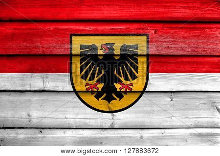 Flag Of Dortmund, Painted On Old Wood Plank Background