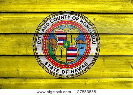 Flag Of Honolulu, Hawaii, Painted On Old Wood Plank Background
