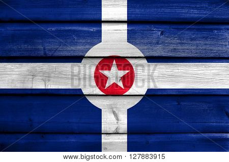 Flag Of Indianapolis, Indiana, Painted On Old Wood Plank Background