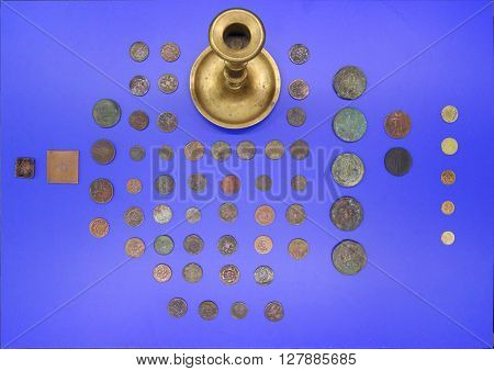 PERM RUSSIA - APR 4 2015: Ancient coins in Museum of Local History