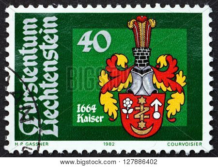 LIECHTENSTEIN - CIRCA 1982: a stamp printed in Liechtenstein shows Bailiff Arms Johann Kaiser 1664 circa 1982