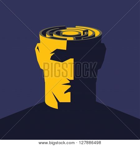 Brain maze. Male open head with labyrinth inside. Psychology concept  vector illustration.