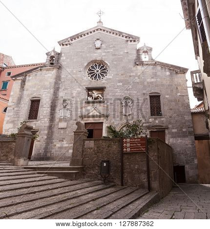 View of the church of the Nativity of the Blessed Virgin Mary in Labin Istria Croatia