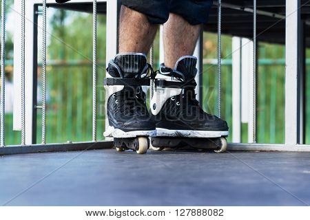Aggressive Inline Rollerblading In A Skatepark