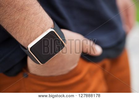 Hand Of Black Man Wearing Modern Smart Wrist Watches