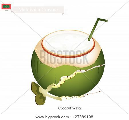 Maldivian Cuisine Fresh Coconut Water Drink. One of The Most Popular Drink in Maldives.