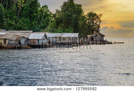 Small Village On Togean Islands At Sunset