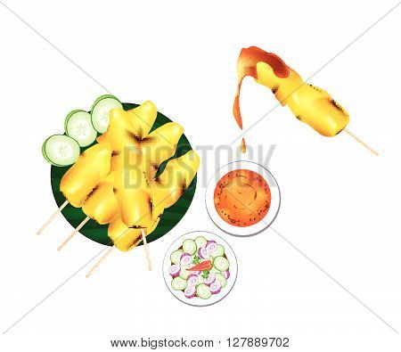 Cuisine and Food Meat Barbecue Served with Peanut Sauce and Vegetable Salad Sauce Isolated on White Background.