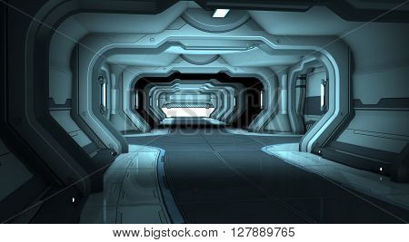 Sci-Fi corridor interior design blue. 3d illustration