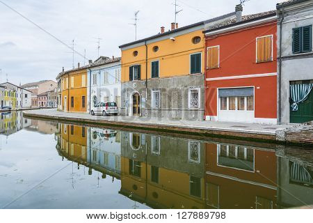 COMACCHIO,ITALY-MAY 3,2015:View of the town of Comacchio Ferrara Emilia Romagna Italy during a cloudy day.