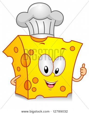 Illustration of a Cheese Character Wearing a Toque Giving a Thumbs Up