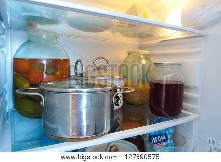 Products on the shelves of the refrigerator