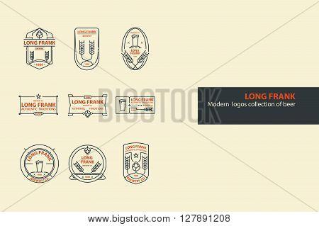 Set of vector beer outline logos, badges. Line art.