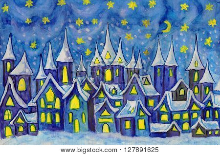 Hand painted illustration watercolours - Dreamstown. Can be used as illustration for fairy tales books for children Christmas pictures. S