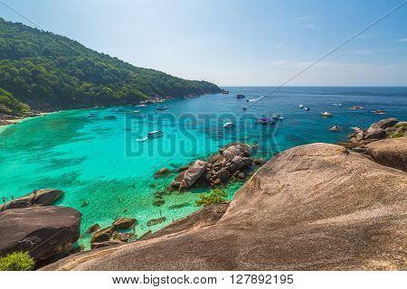 Phang Nga, Thailand - circa Jannuary  2016:   Spectacular view from Sail Rock View Point of Kor 8 of Similan Islands National Park, one of the tourist attraction of the Andaman Sea.