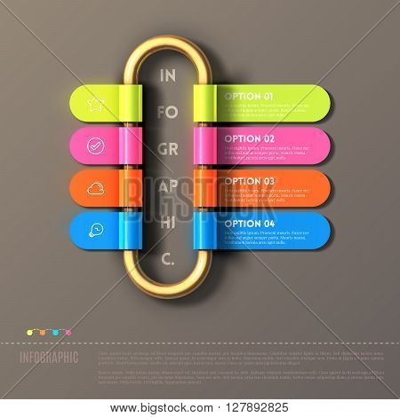 Banner steps business infographic template. Rolled ribbon on gold tube. Can be used for web design and workflow layout