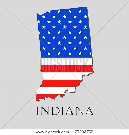 Map of the State of Indiana and American flag illustration. America Flag map - vector illustration.