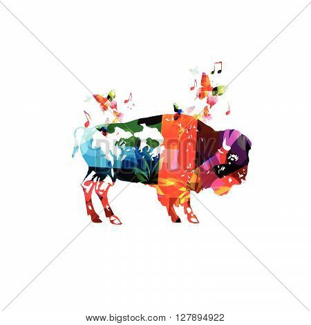 Vector illustration of colorful bison with butterflies