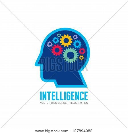 Human head and brain process - vector logo concept illustration in flat design style. Human head with gears. Vector logo template.