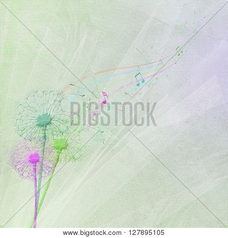 dandelion bouquet with seedling and colorful music notes on wedding tulle background