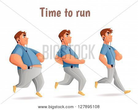 Evolution Slimming men, cartoon vector illustration of three men of different obesity running, fat, fatness, sports people, the desire for healthy and sporty body, fitness exercises for weight loss