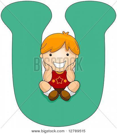 Illustration of a Little Boy Sitting on a Letter U