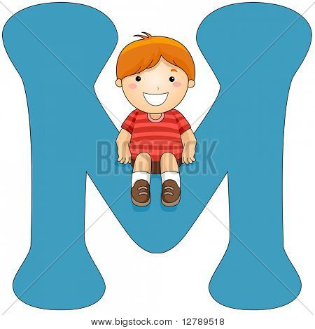 Illustration of a Little Boy Sitting on a Letter M