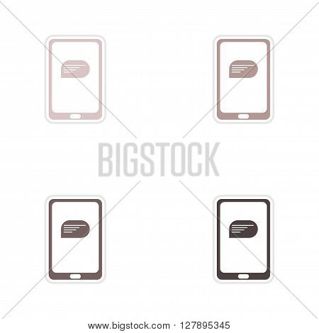 Set of paper stickers on white  background mobile phone message