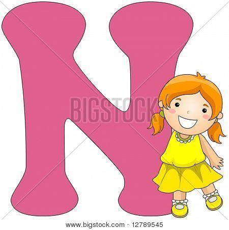 Illustration of a Girl Posing Beside a Letter N