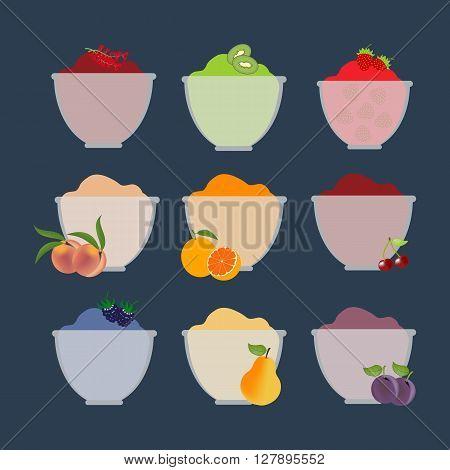 Fruit berry jam. Pear orange kiwi cherry peach plum strawberry. Vector illustration
